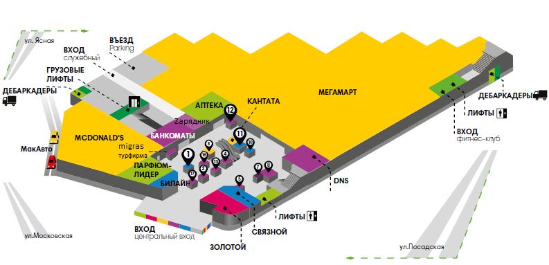 Карта первого этажа