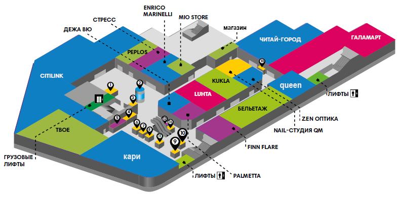 Карта второго этажа ТЦ ФанФан